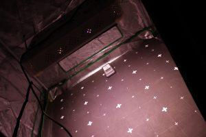Eine LED-Wachstumslampe hängt in unsrem testzelt.